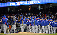 CLEVELAND, OH - OCTOBER 26: The Chicago Cubs celebrate after defeating the Cleveland Indians 5-1 in Game 2 of the 2016 World Series at Progressive Field on Wednesday, October 26, 2016 in Cleveland, Ohio. (Photo by Ron Vesely/MLB Photos via Getty Images)