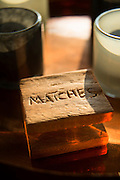 Detail of matches in guest room, Chinzombo Safari lodge, Luangwa Valley . Zambia, Africa