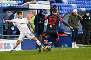 Tranmere Rovers midfielder Otis Khan and Bolton Wanderers midfielder Ben Jackson challenge for the ball during the EFL Sky Bet League 2 match between Tranmere Rovers and Bolton Wanderers at Prenton Park, Birkenhead, England on 23 January 2021.