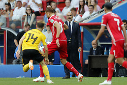 coach Roberto Martinez of Belgium during the 2018 FIFA World Cup Russia group G match between Belgium and Tunisia at the Otkrytiye Arena  on June 23, 2018 in Moscow, Russia