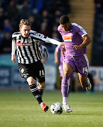 Elliott Hewitt of Notts County (L) and Jake Jervis of Plymouth Argyle in action - Mandatory byline: Jack Phillips / JMP - 07966386802 - 11/10/2015 - FOOTBALL - Meadow Lane - Nottingham, Nottinghamshire - Notts County v Plymouth Argyle - Sky Bet Championship