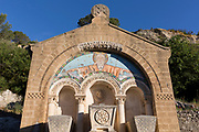 The tombs of François Berlioz (1760-1828) and his family, once the pre-revolution owner of nearby Lagrasse Abbey, on 21st May 2017, in Lagrasse, Languedoc-Rousillon, south of France.  Lagrasse is listed as one of France's most beautiful villages and lies on the famous Route 20 wine route in the Basses-Corbieres region dating to the 13th century.