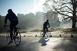 © London News Pictures. 06/10/2013. Richmond, London, UK.  Cyclists in Richmond Park, West London in the early Autumn morning mist. The UK is experiencing an unusually warm start to the Autumn with temperatures reaching 20 degrees in parts.  Photo credit: Ben Cawthra/LNP