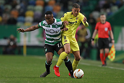 February 14, 2019 - Lisbon, Portugal - Jovane Cabral of Sporting CP (L) vies for the ball with Pablo Fornals of Villarreal FC (R) during the Europa League 2018/2019 footballl match between Sporting CP vs Villarreal FC. (Credit Image: © David Martins/SOPA Images via ZUMA Wire)