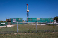 Fort Worth, Texas, October 8th, 2013, Chesapeakd drill site in a resdiential area. The hydraulic fracturing industry is controversial as the long and short term effects of horizontal drilling are unknown.