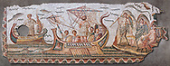Roman mosaic depicting Ulysses resisting the songs of the Sirens on his way back from Troy. In Homers Odyssey it is told that when Ulysses returned home by ship he sailed past the island of the Sirens. Fable had it that the rapture induced by the songs of the Sirens forced sailors to jump overboard and drown. From the reign of Emperor Gallienus 260-280 AD. Excavated from The House of Dionysus and Ulysses, Dougga, Inv 2884A..  Wall art print by Photographer Paul E Williams If you prefer visit our World Gallery Print Shop To buy a selection of our prints and framed prints desptached  with a 30-day money-back guarantee and is dispatched from 16 high quality photo art printers based around the world. ( not all photos in this archive are available in this shop) https://funkystock.photoshelter.com/p/world-print-gallery .<br /> <br /> USEFUL LINKS:<br /> Visit our other HISTORIC AND ANCIENT ART COLLECTIONS for more photos to buy as wall art prints  https://funkystock.photoshelter.com/gallery-collection/Ancient-Historic-Art-Photo-Wall-Art-Prints-by-Photographer-Paul-E-Williams/C00002uapXzaCx7Y