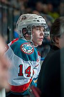 KELOWNA, CANADA - JANUARY 22: Rourke Chartier #14 of the Kelowna Rockets sits in the penalty box against the Everett Silvertips on January 22, 2014 at Prospera Place in Kelowna, British Columbia, Canada.   (Photo by Marissa Baecker/Getty Images)  *** Local Caption *** Rourke Chartier;