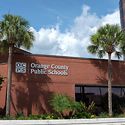 Orange County Public School officials are meeting at the Ronald Blocker Educational Regional Center today to discuss school reopening options due to the Coronavirus (Covid-19) pandemic. The start date is scheduled to begin on August 10, but the plan going forward is to delay the opening, and offer both in person and online options for students and parents, on Tuesday, July 14, 2020 in Orlando, Florida.   (Alex Menendez via AP)