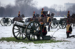© Licensed to London News Pictures. 06/02/2012. LONDON, UK. The Kings Troop Royal Horse Artillery prepare to fire a 41 gun salute in Hyde Park. Gunners of the Kings Troop, based at St John's Wood since 1947, today (06/02/12) left their barracks for the last time to fire their guns in Hyde Park, the soldiers will move tomorrow to their new home in Woolwich. Photo credit: Matt Cetti-Roberts/LNP