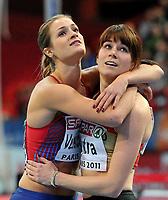 Friidrett<br /> Innendørs-EM 2011<br /> Paris Frankrike<br /> 04.03.2011<br /> Foto: Digitalsport<br /> <br /> Christina Vukicevic tar bronse på 60 meter hekk