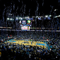 December 28, 2011; New Orleans, LA, USA; A general view as confetti falls following a win by the New Orleans Hornets over the Boston Celtics at the New Orleans Arena. The Hornets defeated the Celtics 97-78.  Mandatory Credit: Derick E. Hingle-US PRESSWIRE