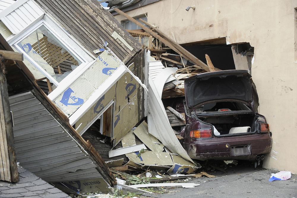 Damage a day after a tornado West Springfield, Mass., Thursday, June 2, 2011. (AP Photo/Jessica Hill)