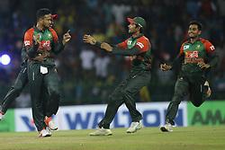 March 16, 2018 - Colombo, Sri Lanka - Bangladesh cricket captain Shakib Al Hasan celebrates during the 6th T20 cricket match of NIDAHAS Trophy between Sri Lanka  and Bangladesh at R Premadasa cricket ground, Colombo, Sri Lanka on Friday 16 March 2018. (Credit Image: © Tharaka Basnayaka/NurPhoto via ZUMA Press)