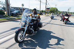 """Michael """"MJ"""" Jones on a ride out to Skyesville, MD with the Flying Eagles MC (founded 1950). USA. August 15, 2015.  Photography ©2015 Michael Lichter."""