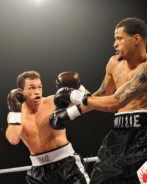 April 3, 2010 - Rumble at the Rock VII - Richmond, BC, Canada - Will Williams (Portland, OR) v. Steve Lowry (Surry, BC) - Super Lightweight Boxing - Williams (2-1-0, 1KO) and Lowry (4-1-1, 2KO) squared of for a four round bout. Williams stopped Lowry by knockout in 2:06 of the first round. The match was a West Coast Promotions feature held at the River Rock Casino in Richmond, BC, Canada.