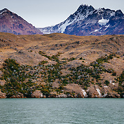 Ice and scenery near the Viedma Glacier from Lago Viedma in Los Glaciares National Park Patagonia Argentina.