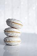 Stack of Three Coconut Macarons with Vanilla Cream