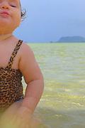 Girl at sandbar, Kaneohe, Oahu, Hawaii