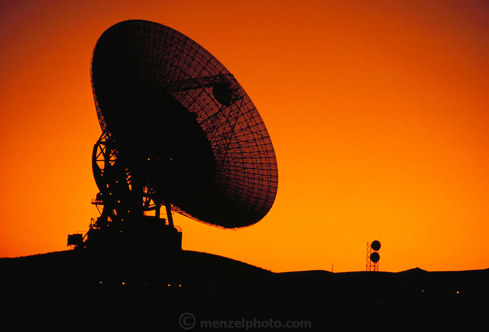 Radio Telescope: The Mars Antenna in the Mojave Desert, California. Goldstone Deep Space Communications Complex. Standing 24 stories tall, the Mars antenna is the largest dish at Goldstone. It was originally built as a 64-meter-diameter (210-foot) antenna and received its first signal from the Mariner 4 mission to Mars. By 1988, the Mars dish, along with the 64-meter antennas in Spain and Australia, was upgraded to 70 meters (230 feet). These 70-meter antennas increase the receiving power of the Deep Space Network. (1983)