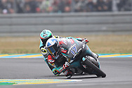 Final corner action in Moto3 with #17 John MCPHEE	GBR Petronas Sprinta Racing Honda taking the win from #48 Lorenzo DALLA PORTA	ITA Leopard Racing Honda during racing on the Bugatti Circuit at Le Mans, Le Mans, France on 19 May 2019.