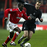 Charlton Athletic's Chris Powell is closed down by Liverpool's Dietmar Hamann