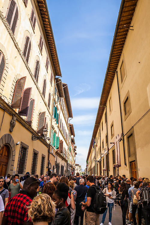 Outside the Gallery of the Academy of Florence where the David statue by Michaelangelo is displayed.