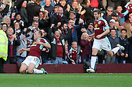 Scott Arfield of Burnley (l) celebrates after scoring his teams 2nd goal. Premier League match, Burnley v Everton at Turf Moor in Burnley , Lancs on Saturday 22nd October 2016.<br /> pic by Chris Stading, Andrew Orchard sports photography.