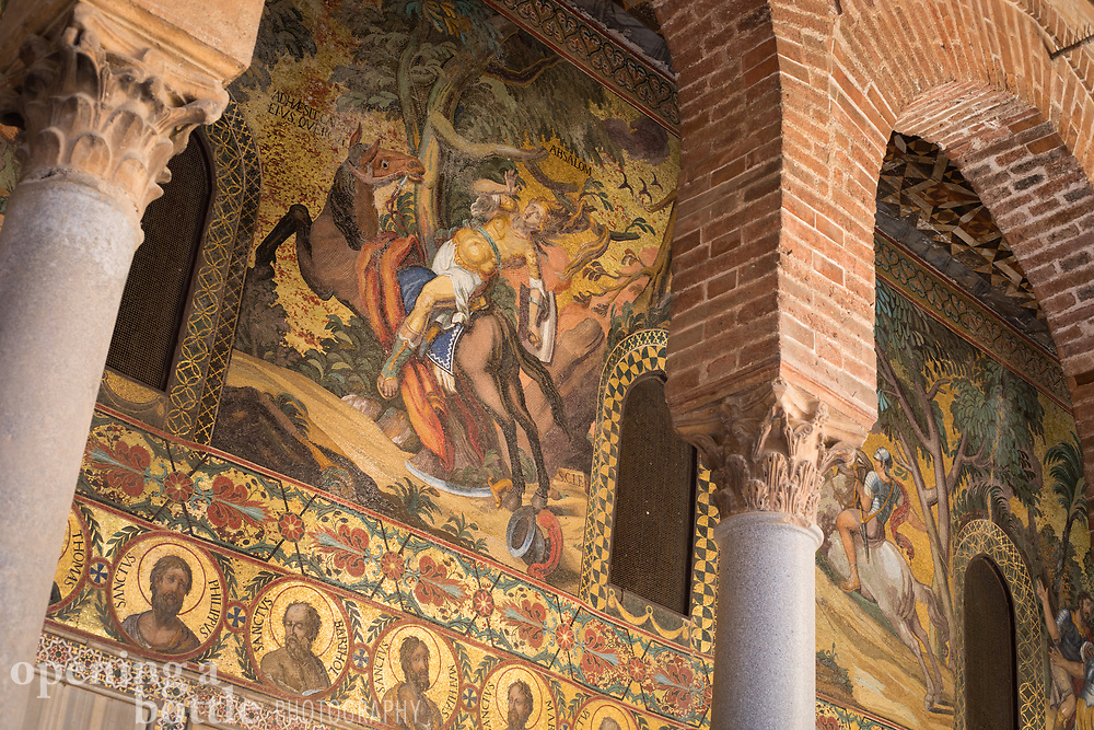 Paintings and mosaics above the entrance to the Palatine Chapel (Cappella Palatina) inside the Palazzo dei Normanni in Palermo, Sicily