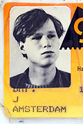 detail of identity document with portrait photo of a young adult man 1980s