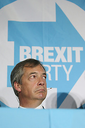 Brexit Party leader Nigel Farage during a rally at Featherstone Working Man's Club, while on the European Election in Pontefract, West Yorkshire. Picture dated: Monday May 13, 2019. Photo credit should read: Isabel Infantes / EMPICS Entertainment.