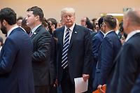 07 JUL 2017, HAMBURG/GERMANY:<br /> Donald Trump, Praesident Vereinigte Staatsn von America, USA, 1. Arbeitssitzung, G20 Gipfel, Messe<br /> IMAGE: 20170707-01-015<br /> KEYWORDS: G20 Summit, Deutschland
