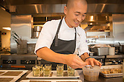 Sunny Jin prepares a modernist cuisine appetizer for Feast PDX