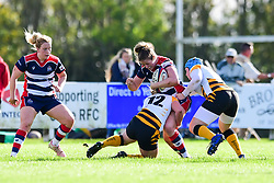 Amelia Buckland-Hurry of Bristol Ladies  is tackled by Lousie Dodd of Wasps Ladies - Mandatory by-line: Craig Thomas/JMP - 28/10/2017 - RUGBY - Cleve RFC - Bristol, England - Bristol Ladies v Wasps Ladies - Tyrrells Premier 15s