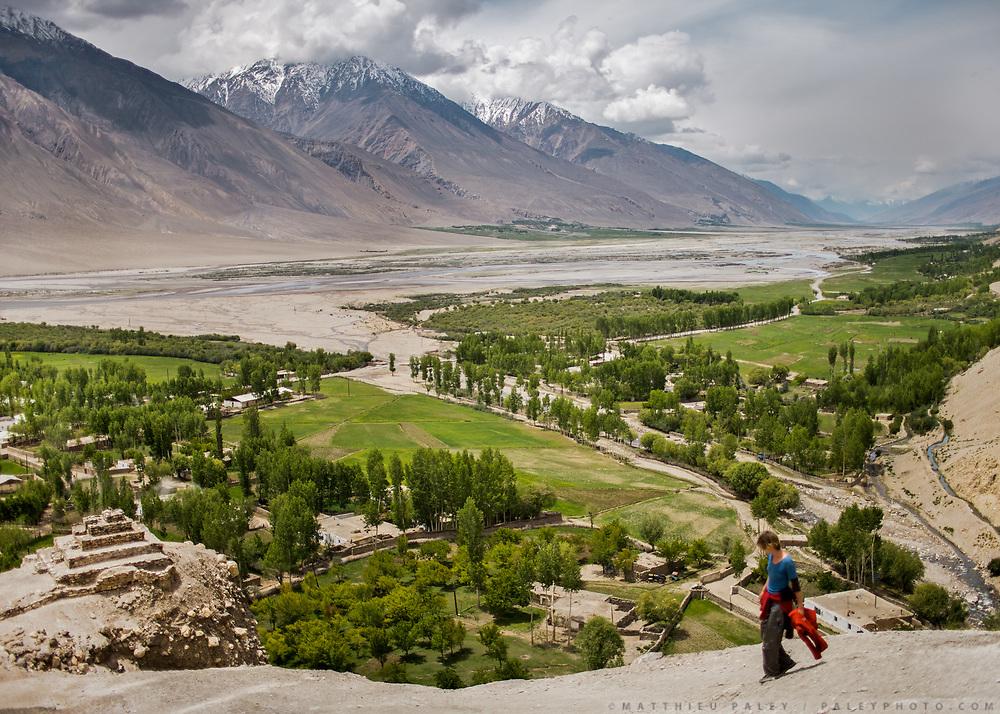 Buddhist Stupa. Vrang Village. Wakhan Corridor, Tajikistan side, Afghanistan across the river.
