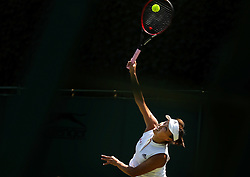 LONDON, July 3, 2018  Peng Shuai of China serves during the women's singles first round match against Samantha Stosur of Australia at the Championship Wimbledon 2018 in London, Britain, on July 3, 2018. Peng Shuai lost 0-2. (Credit Image: © Shi Tang/Xinhua via ZUMA Wire)