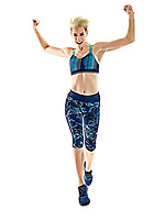 one young caucasian woman runner running jogger jogging studio isolated in white background