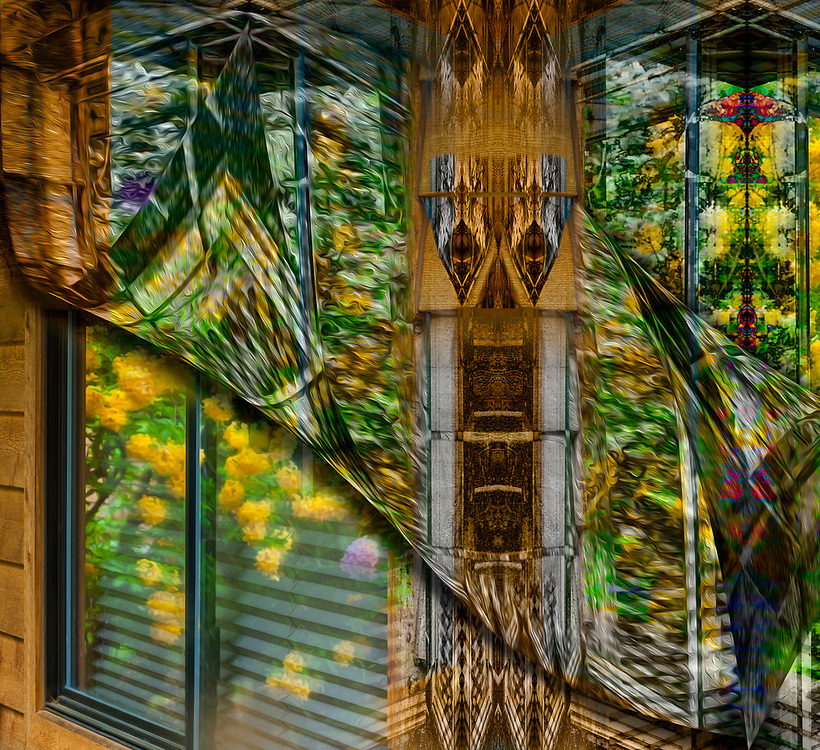 Exterior house window reflection of azalia and wind chime, May overcast light, Clallam County, Olympic Peninsula, Washington, USA