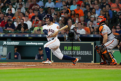 May 23, 2018 - Houston, TX, U.S. - HOUSTON, TX - MAY 23: Houston Astros second baseman Jose Altuve (27) reacts after hitting the ball for a single in the fifth inning during MLB baseball game between the Houston Astros and the San Francisco Giants on May 23, 2018 at Minute Maid Park in Houston, Texas. (Photo by Juan DeLeon/Icon Sportswire) (Credit Image: © Juan Deleon/Icon SMI via ZUMA Press)