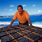 Hong Kong businessman Robert Wan is the largest single producer and exporter of Tahitian Black Pearls.  Photographed on the island he owns, Marutea in the Gambier Islands of French Polynesia.