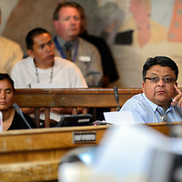 072114  Adron Gardner/Independent<br /> <br /> Navajo Nation Council delegate Edmund Yazzie awaits the start of the summer session of the Navajo Nation Tribal Council in Window Rock Monday.