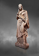 Roman statue of Plancia Magna a prominent woman from Anatolia who lived between the 1st century and 2nd century in the Roman Empire. Marble . Perge. 2nd century AD. Inv no 3459 . Antalya Archaeology Museum; Turkey. Against a grey background .<br /> <br /> If you prefer to buy from our ALAMY STOCK LIBRARY page at https://www.alamy.com/portfolio/paul-williams-funkystock/greco-roman-sculptures.html . Type -    Antalya     - into LOWER SEARCH WITHIN GALLERY box - Refine search by adding a subject, place, background colour, museum etc.<br /> <br /> Visit our ROMAN WORLD PHOTO COLLECTIONS for more photos to download or buy as wall art prints https://funkystock.photoshelter.com/gallery-collection/The-Romans-Art-Artefacts-Antiquities-Historic-Sites-Pictures-Images/C0000r2uLJJo9_s0