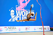 Mickova Monika of Czech Republic competes during the rhythmic gymnastics individual ribbon qualification of the World Cup at Adriatic Arena on April 2, 2016 in Pesaro, Italy.<br /> Monika was born in Brno in Czech Republic in 1991.
