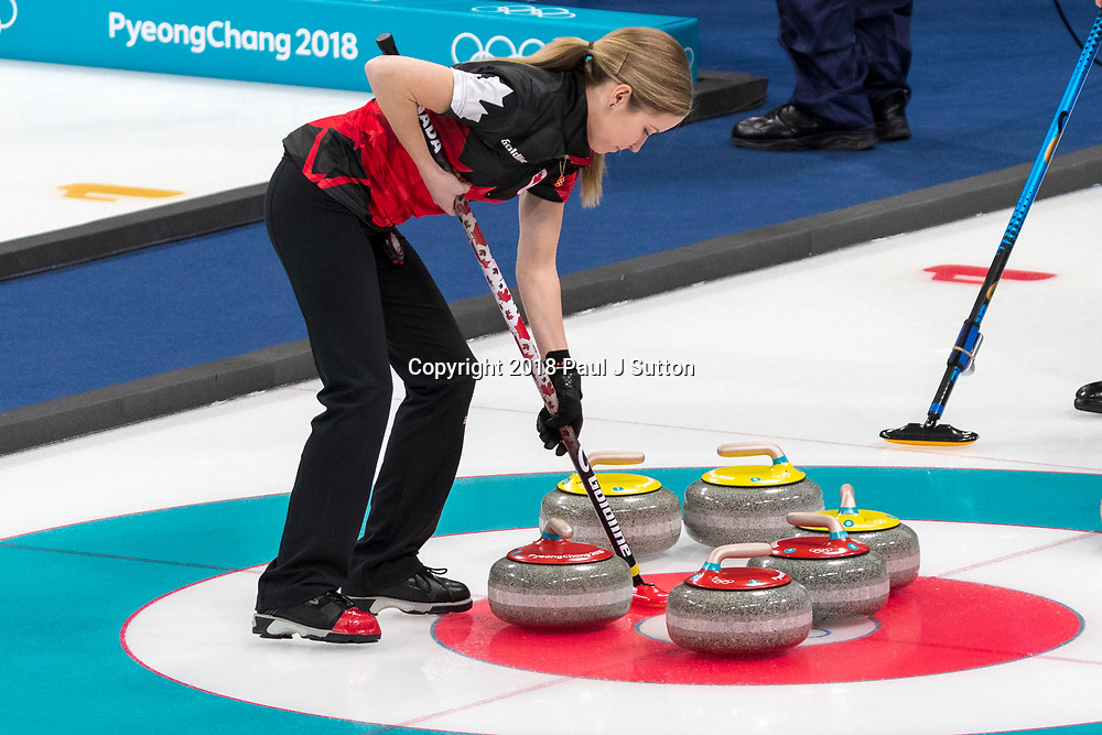 Kaitlyn Lawes (CAN) competing in the Mixed Doubles Curling round robin at the Olympic Winter Games PyeongChang 2018