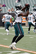 Philadelphia Eagles wide receiver Dorial Green-Beckham (18) jumps and catches a pass while warming up before the 2016 NFL week 13 regular season football game against the Cincinnati Bengals on Sunday, Dec. 4, 2016 in Cincinnati. The Bengals won the game 32-14. (©Paul Anthony Spinelli)