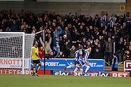 Wigan Athletic defender Callum Connolly(12) scores for Wigan and celebrates making the score 1-0 to Wigan  during the EFL Sky Bet Championship match between Burton Albion and Wigan Athletic at the Pirelli Stadium, Burton upon Trent, England on 14 January 2017. Photo by Richard Holmes.