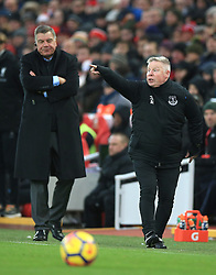 Everton manager Sam Allardyce (left) and assistant Sammy Lee during the Premier League match at Anfield, Liverpool.