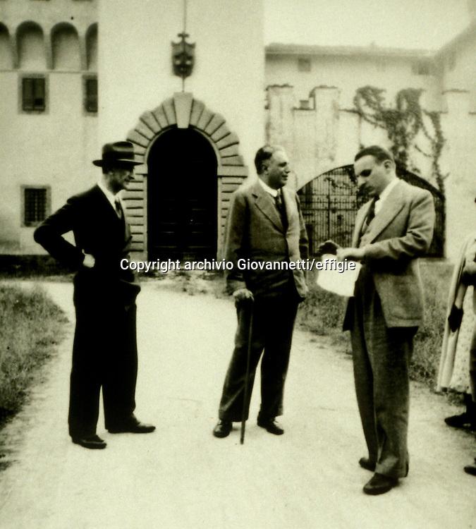 Corrado Tumiati, Luigi Russo, Norberto Bobbio<br />anni '50<br />archivio Giovannetti/effigie
