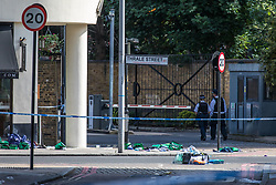 June 4, 2017 - London, London - London, UK. Medical equipment abandoned on the corner of Thale Street near Borough Market after a terrorist incident in which seven people are reported to have been killed. A white van veered off the road hitting a number of pedestrians before several men attacked people with knives. (Credit Image: © Rob Pinney/London News Pictures via ZUMA Wire)