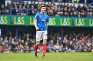 goal scorer Portsmouth Forward, Oliver Hawkins (9) during the EFL Sky Bet League 1 match between Portsmouth and Rochdale at Fratton Park, Portsmouth, England on 13 April 2019.