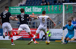 Livingston Lyndon Dykes scoring their first half goal. half time : Falkirk 0 v 1 Livingston, BetFred Cup game played 13/7/2019 at The Falkirk Stadium.